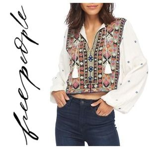 Free People Enter Loveland Embroidered Top  M L